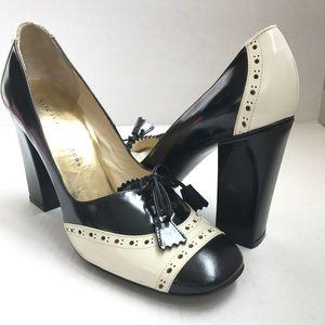 MARC JACOBS Black White Oxford Brogue Heel 40 / 10